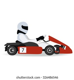 Logo karting. Man racing on sport kart in helmet. Auto racing and Go-kart icon. Vector illustration.