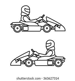 Logo karting. Man racing on sport kart in helmet. Auto racing and Go-kart icon. Vector illustration of line art karting.