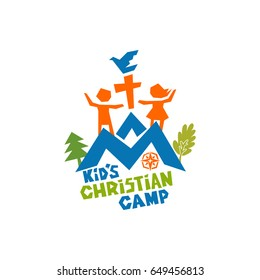 Logo of kid's Christian camp. Mountains, cross, children and pigeon