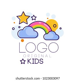 Logo kids creative concept template, design element with rainbow stars and clouds hand drawn vector Illustration isolated on a white background
