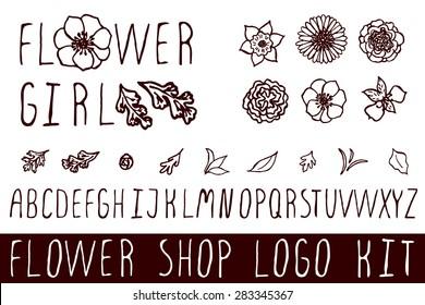 Logo kit with handsketched floral elements for flower shops. Flower girl