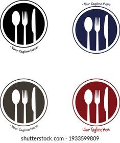 logo kitchen, cafe or restaurant with four variants. design vector illustration