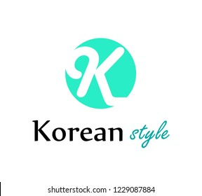 Logo for Korean fashion store or web site in style design - Vector illustration isolated on white.