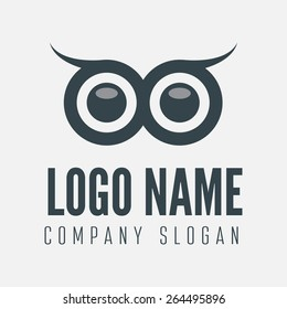 Logo, label, badge, emblem or logotype element with owl for business, corporation or web