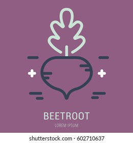 Logo or label beetroot. Line style logotype. Easy to use beetroot template. Vector abstract sign or emblem.