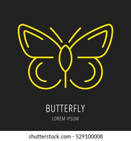 logo or label butterfly. Line style logotype template. Easy to use business template. Vector abstract logo or emblem.