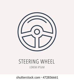 logo or label Car elements. Line style logotype. Easy to use business template. Vector abstract sign or emblem.