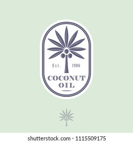 Logo and label for coconut oil for packaging. Coconut tree with letters in a rounded icon. Engraving style.