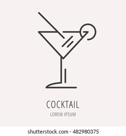 logo or label coctail. Line style logotype. Easy to use business template. Vector abstract sign or emblem.