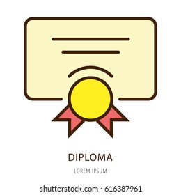 Logo or label diploma. Line style logotype. Easy to use diploma template. Vector abstract sign or emblem.