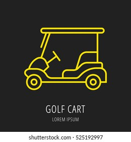 logo or label golf. Line style logotype template with cart. Easy to use business Vector abstract or emblem.