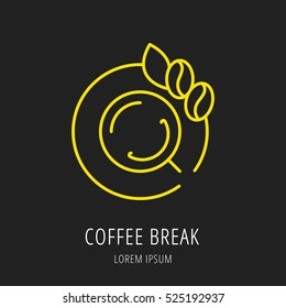 Logo or label. Line style logotype. Easy to use coffee break template. Vector abstract sign or emblem.