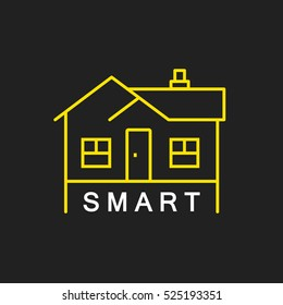 logo or label smart house. Line style logotype. Easy to use business template. Vector abstract sign or emblem.