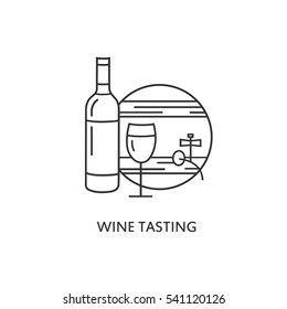 logo or label Wine tasting. Line style logotype template with bottle of wine, glass and barrel. Vector abstract logo or emblem.
