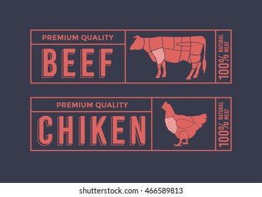 Logo for labelling of meat. Picture Animals Used for Food From the Meat Industry. Set include: Chicken and Cow.