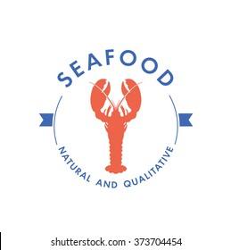 Logo or labels seafood restaurant- lobster.Vector illustration