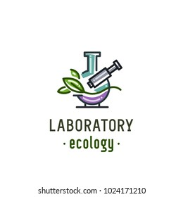 "Logo ""Laboratory of Ecology"". Images of the microscope and leaves on the background of the flask"