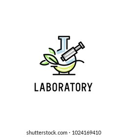Logo for the laboratory with the image of a microscope, flask and sheet.