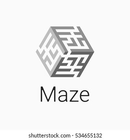logo labyrinth. Modern vector symbol maze. isometric cube icon for logotype game, quest, corporate branding, business identity in grey color