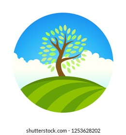 Logo with Landscape of eco garden or park, tree under blue sky. Vector round illustrationof grace, calm, sweet, tranquility. Natural fruit farm and harvest.
