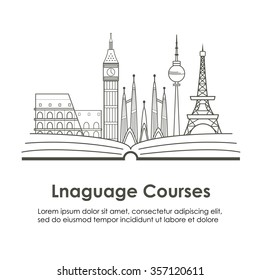 Logo for language courses or school with European landmarks. Made in vector line style.