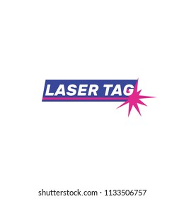 Logo laser tag, vector illustration, flat, flash, shot, ray, blue, white, pink
