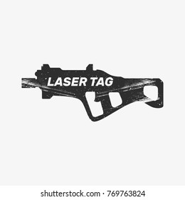 Logo for laser tag, weapon for playing, rifle, carbine, machine gun, shotgun, tattoo and attrition, silhouette, flat vector illustration, black, white, gray, game