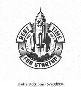 Logo with a launching spaceship and a circular banner in retro style. Vector illustration.