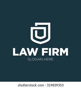 A logo for a law firm. Minimalist image of two shields on a Navy background