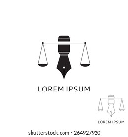 Logo of lawyer with fountain pen. Concept of logo of lawyer in the form of scales with a fountain pen.