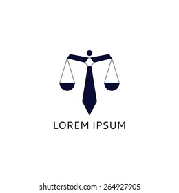Logo of lawyer with tie. Concept of logo of lawyer in the form of scales with a tie.