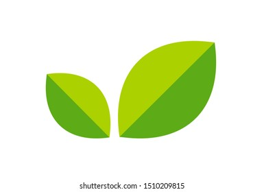 Logo with leaves, Green Foliage Icon in a minimalist style. Vector illustration for eco natural product isolated on white background. Tea sign for website or store.