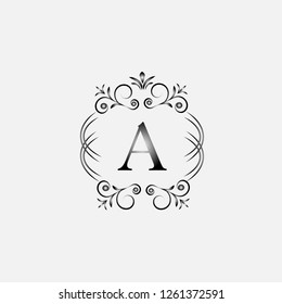 Logo of the letter A. Elegant coat of arms monogram. Magnificent logo for restaurant, royalty, boutique, cafe, hotel, heraldry, jewelry, fashion. Vector illustration