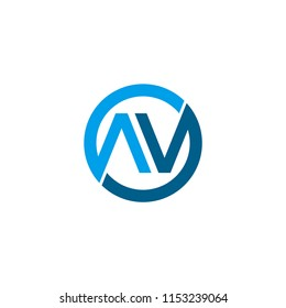 Logo letter AV on isolated white background