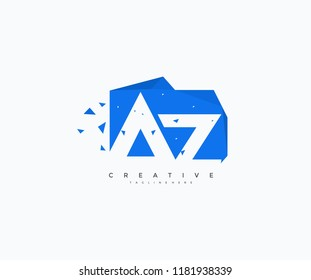 Logo Letter AZ Abstract Geometric Rectangle Shape with Triangle Pixel