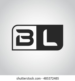 Logo letter BL with two different sides. Negative or black and white vector template design