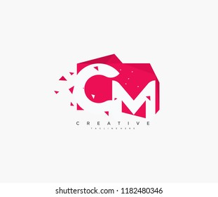 Logo Letter CM Abstract Origami Rectangle Shape with Triangle Pixel