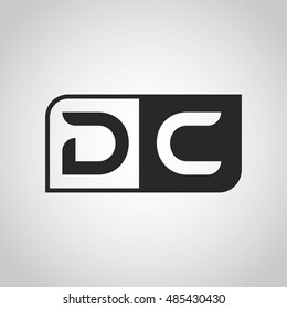Logo letter DC with two different sides. Negative or black and white vector template design