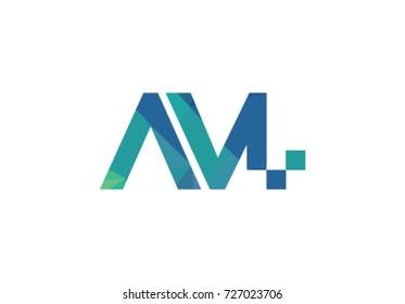 AM Logo. Letter Design Vector. Monogram vector logo in a modern style.