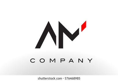 AM Logo.  Letter Design Vector with Red and Black Colors.