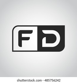 Logo letter FD with two different sides. Negative or black and white vector template design