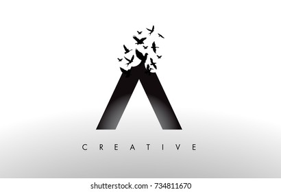 A Logo Letter with Flying Flock of Birds Disintegrating from the Letter. Bird Fly Letter Icon.