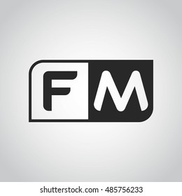 Logo letter FM with two different sides. Negative or black and white vector template design