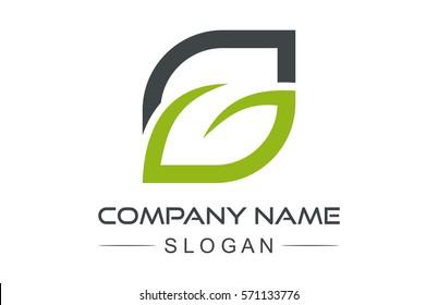 logo letter g leaf icon