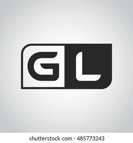 Logo letter GL with two different sides. Negative or black and white vector template design