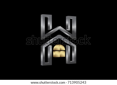 7cbad822 Logo Letter H Architecture Icon Gold Stock Vector (Royalty Free ...