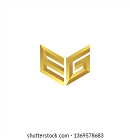 EG Logo letter initial 3d designs templete with gold colors