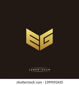 EG Logo Letter Initial Logo Designs Templete with Gold and Black Background