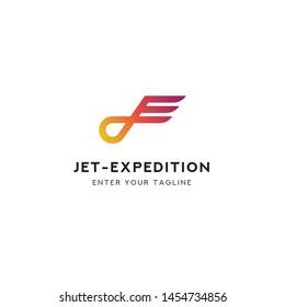 Logo Letter J + E, Concept Logo Letter J + E + Symbol Wings.