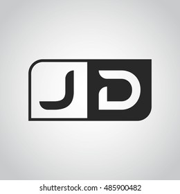 Logo letter JD with two different sides. Negative or black and white vector template design